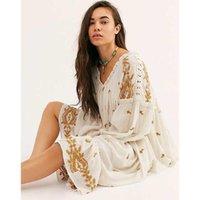 Jastie Lavender Fields Midi-Kleid 2020 Sommer-Herbst-Langarm-lose Stickerei Chic Kleid Blumen Hippie Vintage-Vestidos