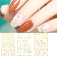 New nail decals: fresh, simple and versatile with gold blocking lines, flower arrowhead bows, digital master 3D back glue, DIY nail decals