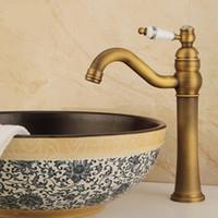 Горячая и холодная вода Смешивание кран Умывальник кран Европейский Стиль Античная медь Кухня Смесители раковины ванной комнаты