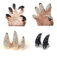 Nuevo PUNK Aleación de oro plateado de oro rosa de alta calidad Garras de águila Anillos de uñas ajustables Anillo de dedo Vestido Joyería Femme Bague Envío gratis