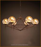 nouveau design pendentif en verre de LED industrielle millésime Amérique du restaurant de style décoration café fer vêtements ADN modo lumière pendentif magique