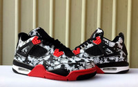 Wholesale 4 IV men basketball shoes women 4s white black red...