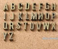 A-Z lettere d'argento di diapositive di fascini misura fai da te cinturino in pelle 7 millimetri piatta Antico, alfabeto Parola Lettera 6737