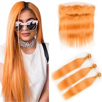 Pure Orange Brazilian Straight Human Hair 3Bundles with Fron...