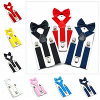 Bow Tie enfants Suspenders Set Garçons Filles bretelles élastiques Y bretelles avec Bow Tie Mode Ceinture Enfants Bébé Retro Bracelet Clip Y-back CYP1445