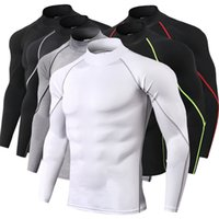 Mens Fitness Long Sleeves Rashguard T Shirt Men Bodybuilding...
