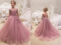 Dusty Rose Littler Girls Pageant Dresses 2019 Embroidery 3D ...