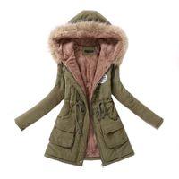 Femmes Parka Casual Outwear Automne Hiver militaire manteau à capuchon Veste d'hiver femmes fourrure Vestes d'hiver de manteaux femmes et manteaux CJ191213