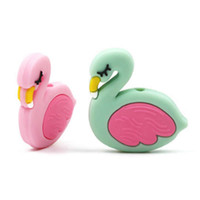 Flamingo Silicone Beads Baby Teething Rings Grade Silicone t...