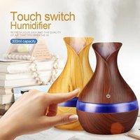 300ml Huile Aroma Diffuseur Humidificateur à ultrasons cool grain de bois Purificateur d'air +7 Couleurs Changement lumière LED nuit pour Home Office