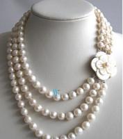 Perfect Natural Perlenkette, 17-20inches 4rows 7-8mm weiße Frischwasserperlen-Halskette, Shell-Blumen-Haken, neues freies Verschiffen