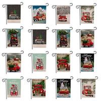 Рождество Сад Флаги Баннеры мультфильм шаблон Xmas Theme Две стороны Patterns животных партия рождественских украшений Баннер Флаги 30шт T2I5469