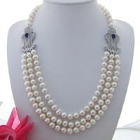 Anudadas a mano 3strands 7-8mm collar de perlas de agua dulce redonda incrustaciones de accesorios de circón colgante de perlas micro blanco largo 53-58cm