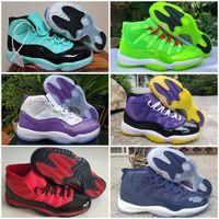 2020 Yeni 11 XI Lakers Metalik Gümüş Sarı Yeşil 11'ler Erkek Basketbol Ayakkabı Beyaz Mor Yüksek Jumpman Spor Eğitmenler Sneakers US 13 Eur47