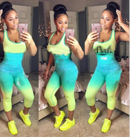 6 Styles Women Tracksuits Pink Letter Outfit Sleeveless Tigh...