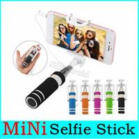 Monopiede Wired selfie Stick Super Mini cavo in Pole pieghevole all-in-one kit monopiede Autoscatto Con Groove per Iphone 6 in scatola al minuto
