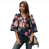 الأزهار الفهد الصيف قميص المرأة الخامس الرقبة فضفاضة عارضة نصف كم المرأة مصمم بلايز بألواح جوفاء خارج المحملات