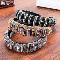 Haimeikang Thick Sponge Velvet Hairbands Luxury Colored Rhin...