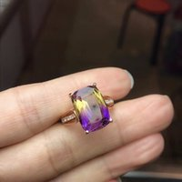 Us Stock Uloveido Square Purple Amethyst Rose Gold 925 Sterl...
