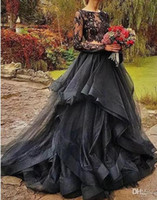 2020 Forest Black Gothic Two Pieces Wedding Dresses Jewel Ne...