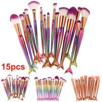 15pcs Brush Set Mermaid Makeup Brushes Eyeshadow Powder Contour Brush Kit أدوات التجميل مستحضرات التجميل وارتفع الذهب فرش مؤسسة فرش