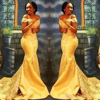 Vestidos de fiesta de sirena amarilla nigeriana africana larga 2019 de descuento en los hombros lentejuelas lentejuelas por satén por la noche BA8405