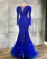 2020 Royal Blue Lange Mouwen Mermaid Prom Dress Sexy Kant Geappliceerd Avondjurk Hoge Kant Split Formele Feestjurk