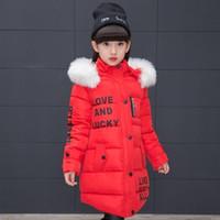 Nuovo 2019 Fashion Bambini Giacca Invernale Giacca Ragazza Cappotto Inverno Bambini Colletto di pelliccia spessa calda con cappuccio con cappuccio lungo cappotti per adolescenti WL1172
