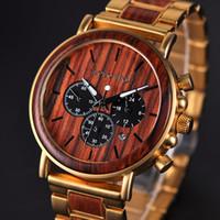 BOBO BIRD Gold-Uhr-Mann-Luxusmarke aus Holz Armbanduhren Male Datumsanzeige Stoppuhren Reloj goldene Stunde LY191213
