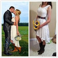 작은 흰 드레스 빈티지 높은 낮은 해변 웨딩 드레스 전체 레이스 V 넥 보헤미안 웨스턴 컨트리 카우걸스 신부 리셉션 가운