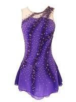 Liuhuo Kobiety Rytmiczne Gimnastyki Leotards Dziewczyny Performance Artystyczne Gimnastyka Sukienka Piękny Druku Rozciągliwe Tkaniny Łyżwiarstwo Fioletowy