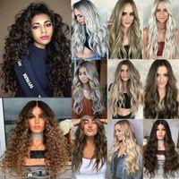 Au mulheres longas peruca completa natural ondulada sintética como perucas cosplay de cabelo real