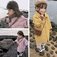 Girls Woolen Coat Korean Padded Cotton Kids Winter Long Coat Toddler Baby Warm Jacket Coat Pure Color Kids Baby Thicken Outwear