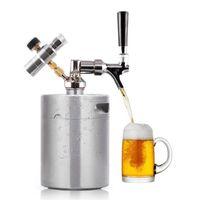 Outdoor 1.8L / 64oz roestvrij staal Mini onder druk staande bier Mini keg Kit Outdoor Draagbare Keg Dispenser voor Camping Picknick