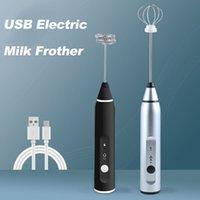 USB elétrica Leite Frother Handheld Espuma Máquina de Café com 2 aço inoxidável Primavera Eggbeater Powerful elétrica Leite Frother