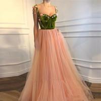 2020 Floral Blush Pink 3D larga una línea de vestidos de baile de terciopelo Top Appliqued niñas desfile de compromiso por encargo del partido del vestido de noche