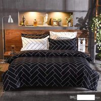 Geometric Line Bedding Sets Black White Duvet Cover Pillowca...