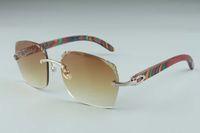 2019 Hot vente récent style exquis 3524018-5 microlentilles coupe des lunettes de soleil, paon naturel verres en bois temples, taille: 18-135mm