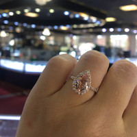 18k Rose Gold Pink Diamond Rings Heart- Shaped Bague Or Jaun...