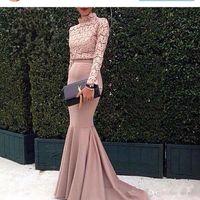 2018 Ocasião Dubai Árabe Vestidos Lace Top alta pescoço mangas compridas Mermaid Prom Dress Rosa Especial Moda vestido feito sob medida