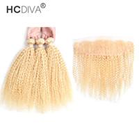 Paquete de pelo rubio rizado rizado de la virgen brasileña con el color del borde frontal del cordón 613 3 paquetes pelo con cierre 13 * 4