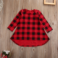 Cute Toddler Kids Girls Dress 2018 Spring Long Sleeve Red Plaid Children Dresses Casual Cotton Dress