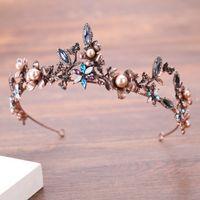 Lindo ouro do vintage colorido Crystal Pearl nupcial Crowns Tiaras casamento cabelo Acessórios Womens Barroco Cabelo Crown C19041101 Jóias