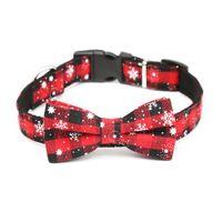 Los perros grandes correa ajustable arco de la Navidad de la hebilla de la correa roja de la tela escocesa del copo de nieve para mascotas collares de perro Collar para Mascotas