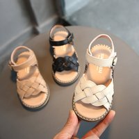New Children Leather Sandals Girls Sandals Soft Bottom Baby Shoes Open Toe Kids Summer Shioes Hook Loop Princess Shoes Sandalias
