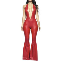Frauen reizvoller tiefer V-Ausschnitt PU-Leder, figurbetontes Overall-Dame-Partei Clubwear breite Bein Flare Pants Sexy Body Hosen Halterbeutelhüfte Bodysuits
