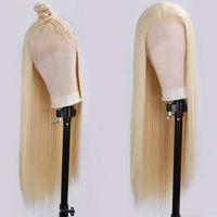 # 613 Peruka syntetyczna koronka przednia peruka 13x4 odporne na ciepło włókno długie proste syntetyczne włosy peruka bezklejowy blond syntetyczny koronki peruki Cosplay