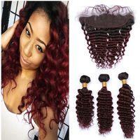 1B / 99J Borgoña Ombre onda profunda brasileña paquetes de cabello humano con raíces frontal Cierre del vino rojo oscuro rizado pelo de la Virgen 13x4 Full Frontal