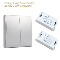 Wireless Switch Controle Remoto Smart Home Black Panel Control 2 Gang 1 Receptor do Controle Way pode ser montado na parede AC 90V-250V global Universal