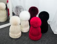 Winter gestrickte Echtpelzmütze Frauen verdicken Beanies mit Echt FOX FUR Pelz Pompoms Warm Caps snapback Pompon Beaniehüte